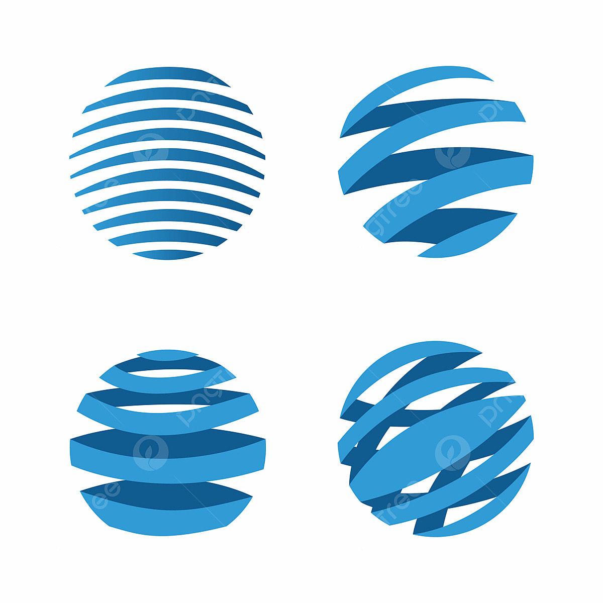 Globe Vector Icons Logo Design Concept Circle Blue
