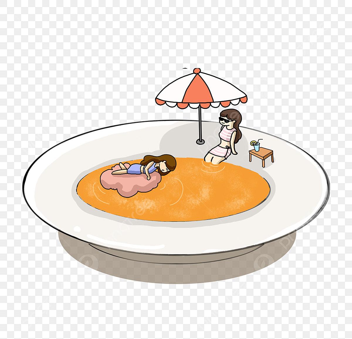 Gourmet Tema Kartun Ilustrasi Makan Kepiting Makan Brokoli Makanan