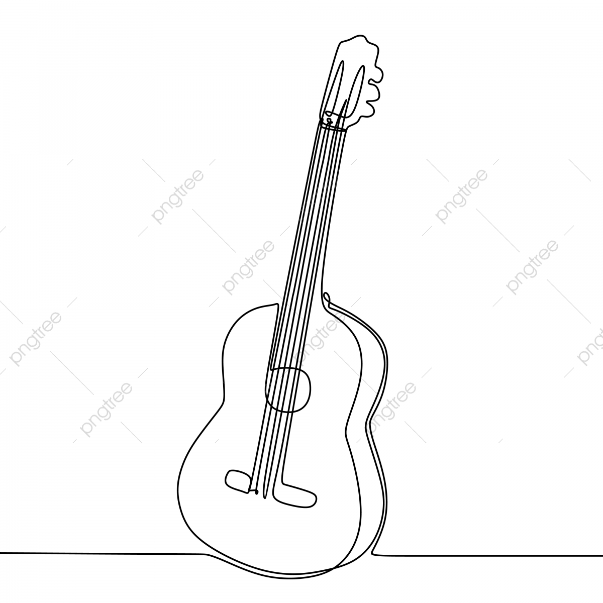 Guitar Drawing Vector With Single Continuous One Line Art Style Isolated On White Background Guitar One Single Png And Vector With Transparent Background For Free Download