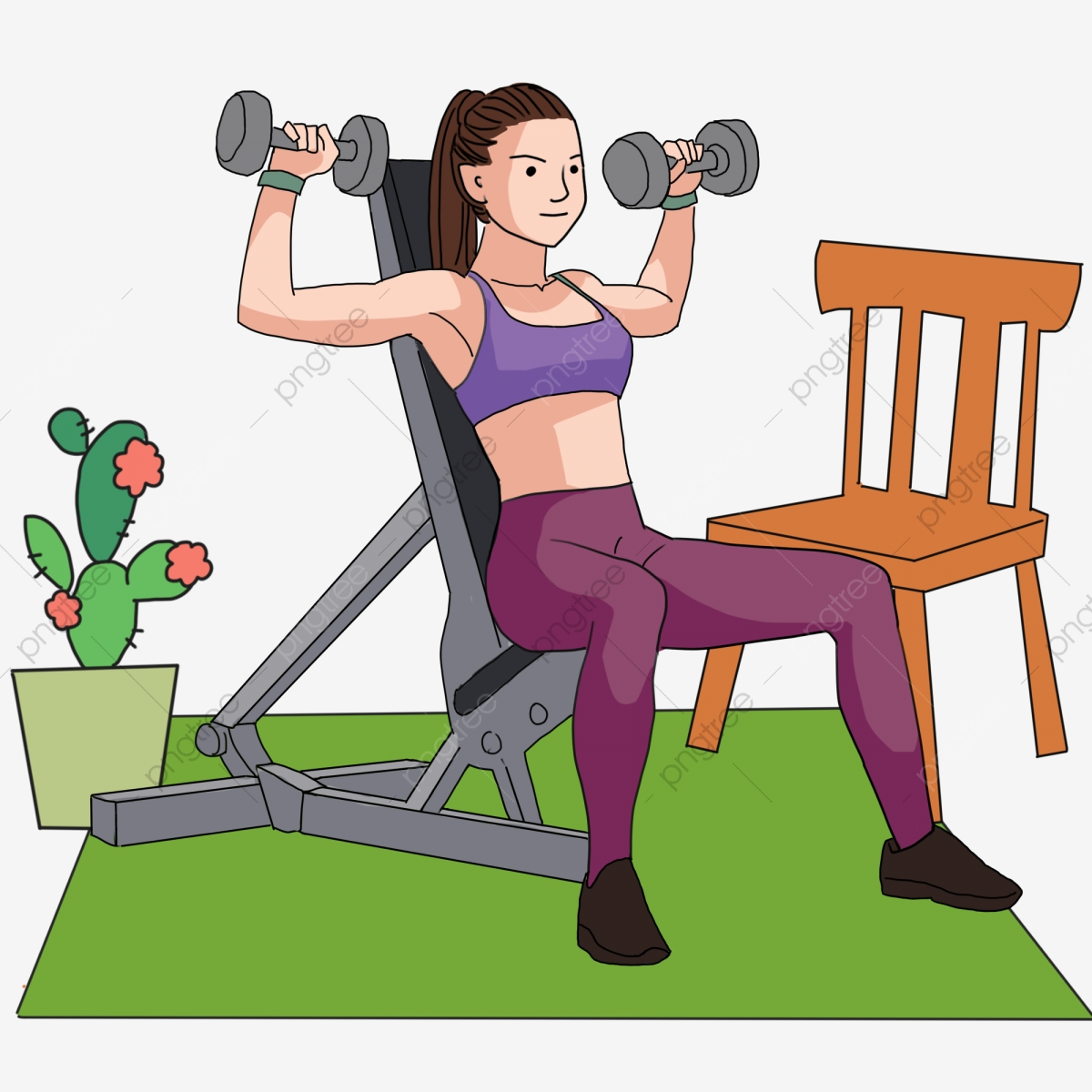 Gym Weightlifting Fitness Body Build Muscle Dumbbell Chair Cactus Png Transparent Clipart Image And Psd File For Free Download