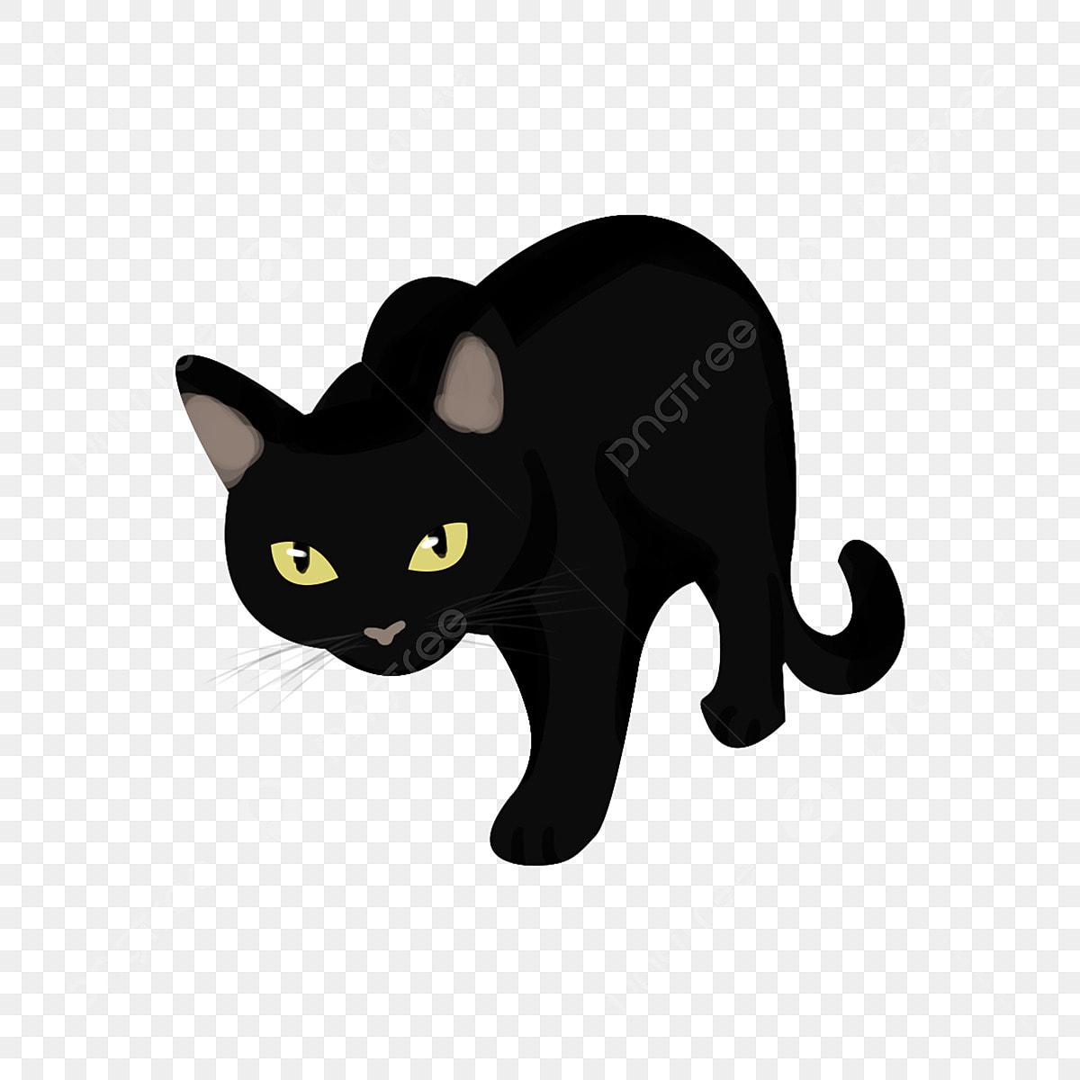 Halloween Tangan Yang Ditarik Kartun Kucing Hitam Elemen