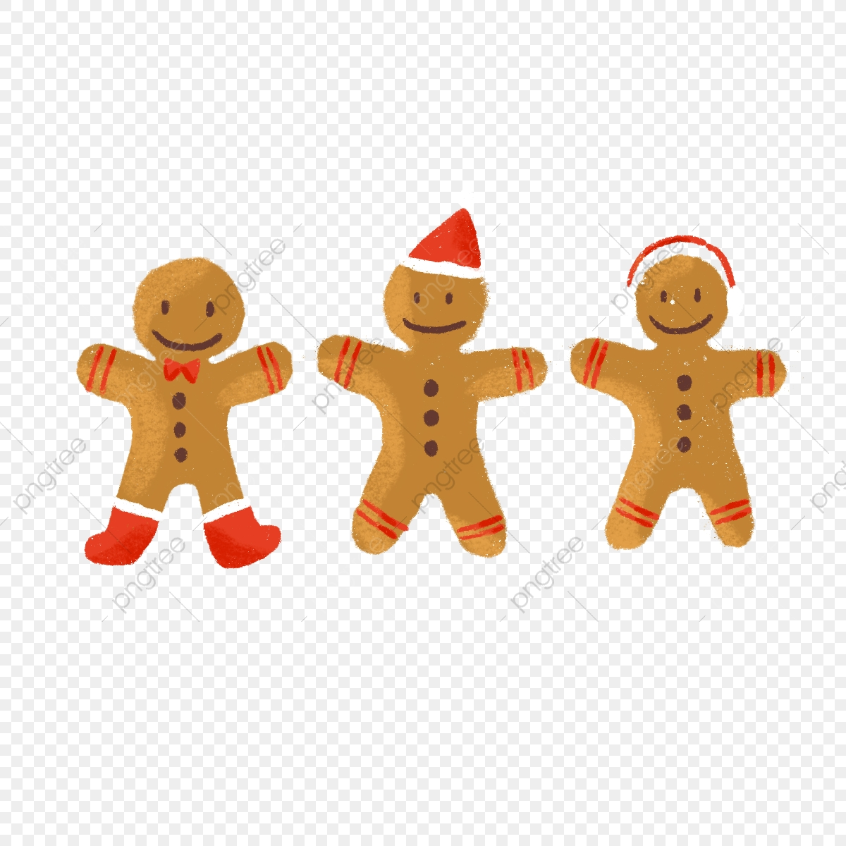 Hand Drawing Gingerbread Christmas Cookies Hand Drawing Cute
