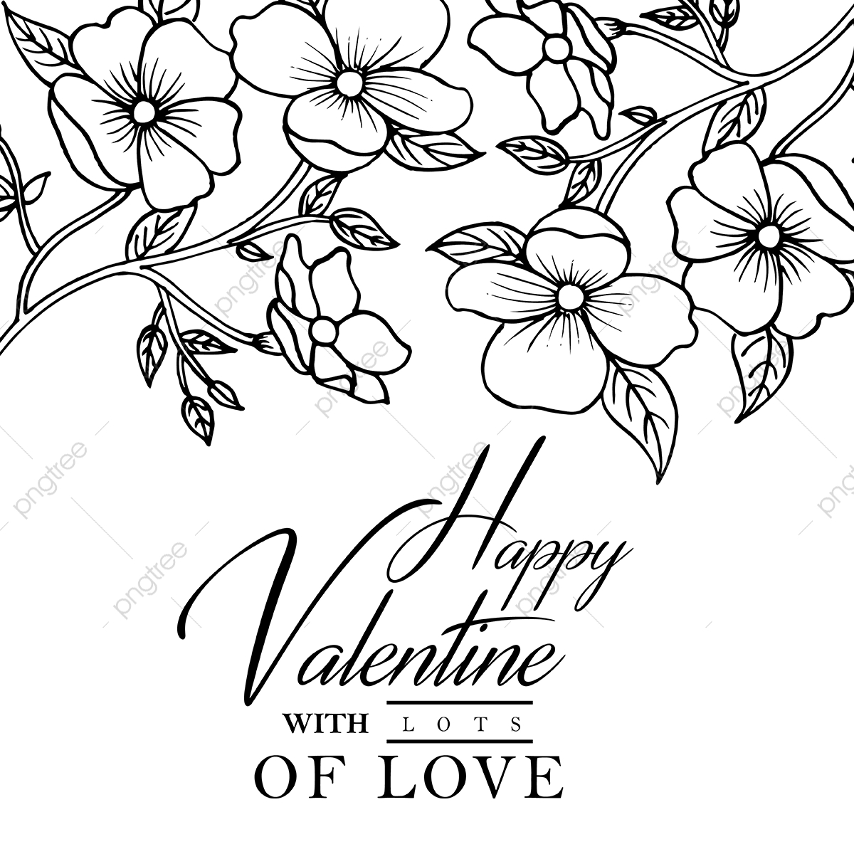 Hand Drawn Black And White Valentine Floral Background Hand