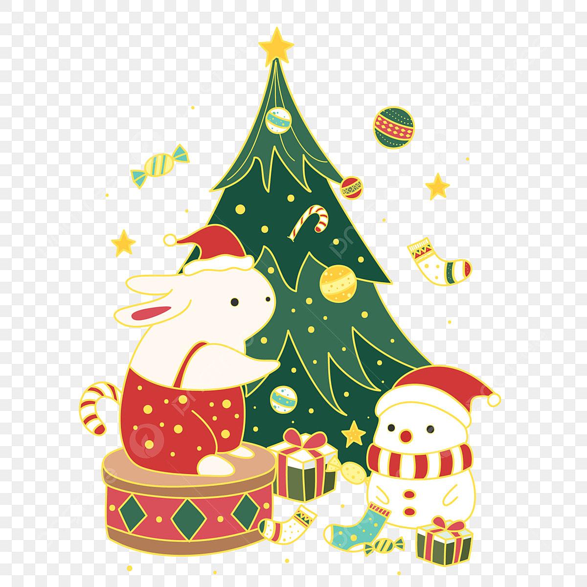 Mao Desenhada Elemento De Arvore Natal Dos Desenhos Animados