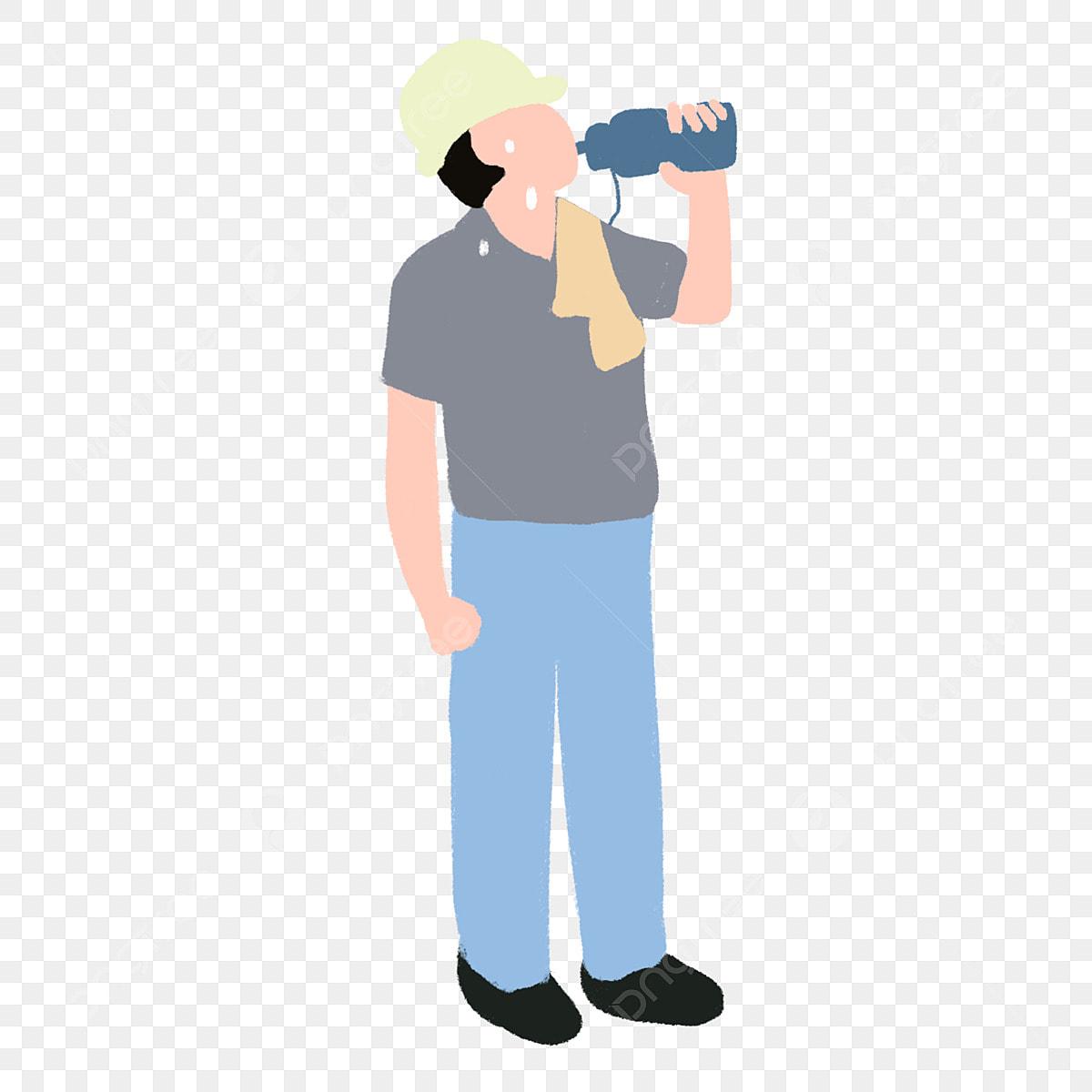 مرسومة باليد رسم كاريكتوري تصنيف ماء الشرب Worker عامل شرب الماء واقفا Png وملف Psd للتحميل مجانا