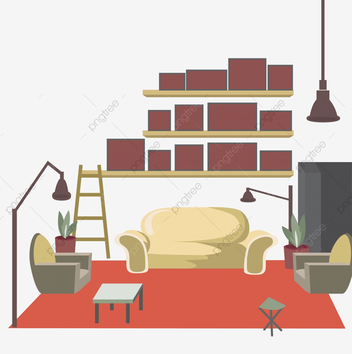 Living Room Background Animated: Hand Drawn Illustration Interior Design Living Room