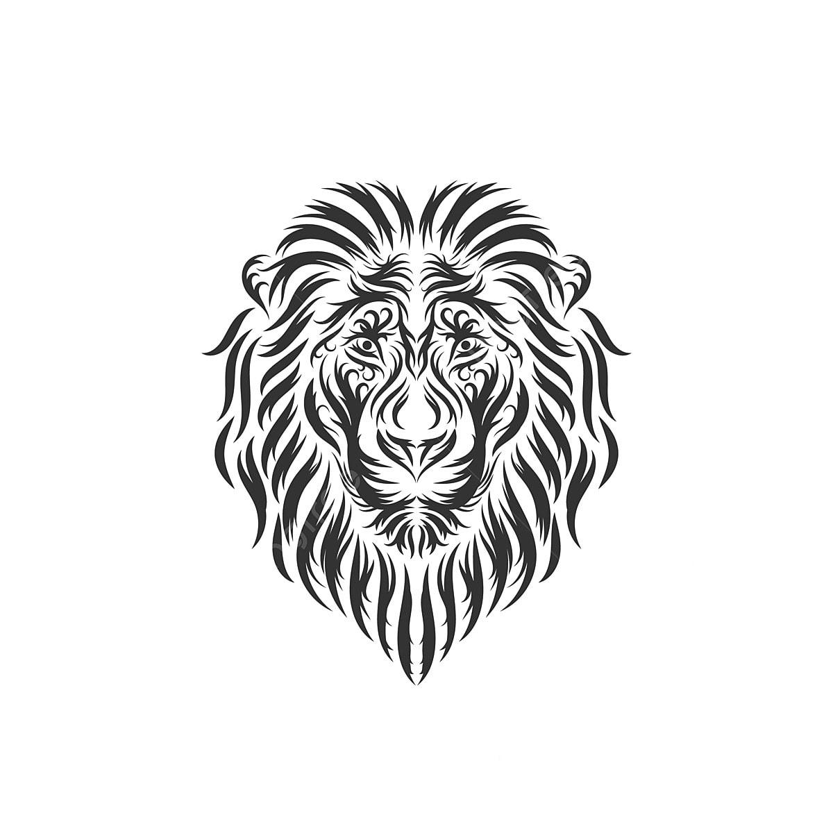 Tangan Ditarik Kepala Singa Inspirasi Abstrak Haiwan Seni