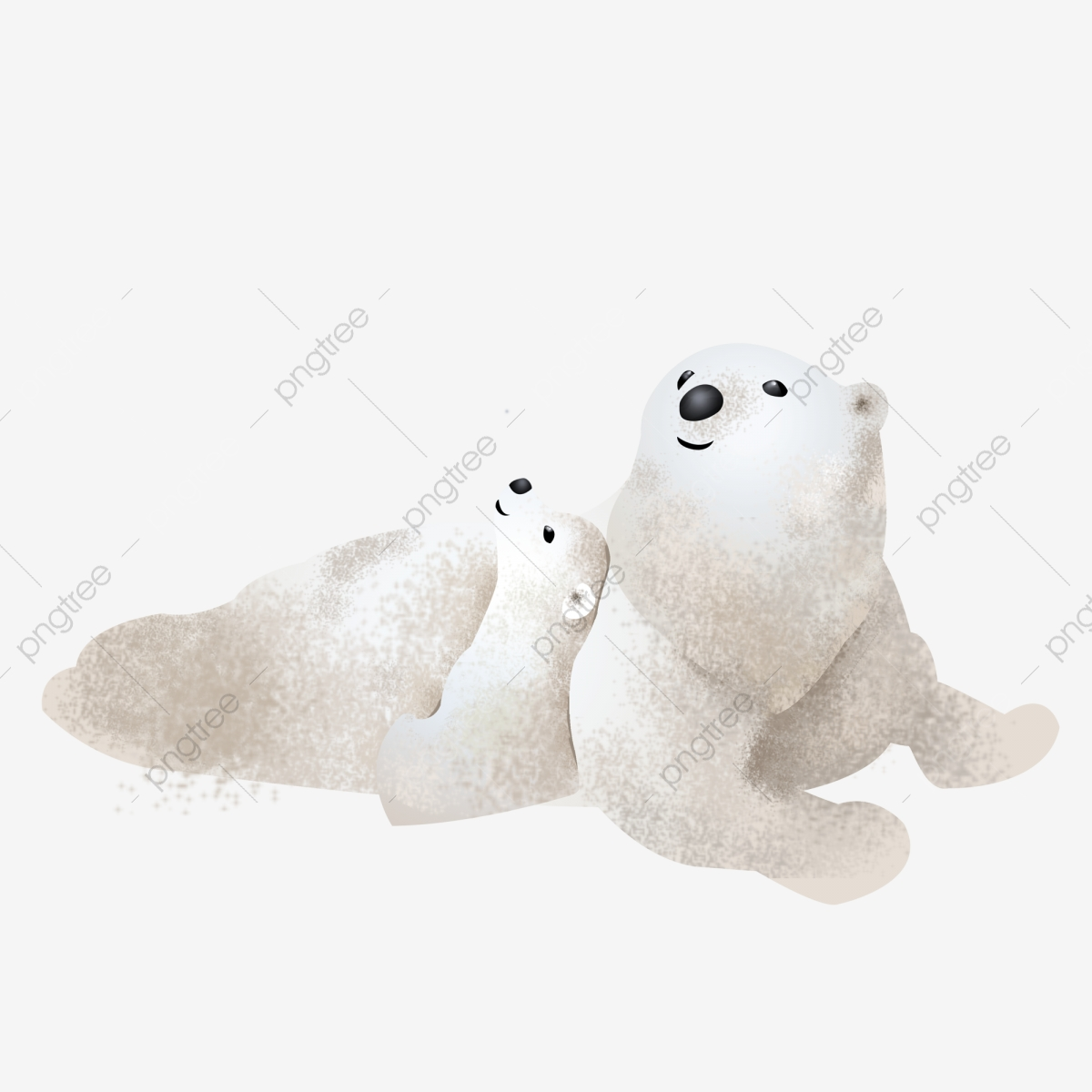 Hand Drawn Polar Bear Mother And Child Element Design Hand