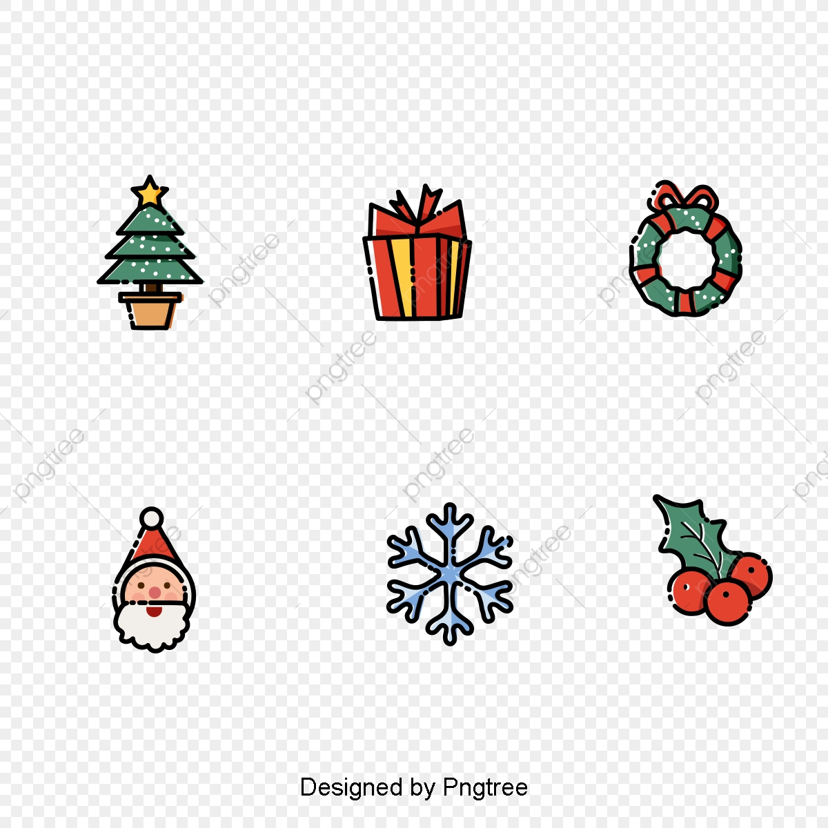 Hand Drawn Vector Lines Christmas Icon Icon Hand Painting