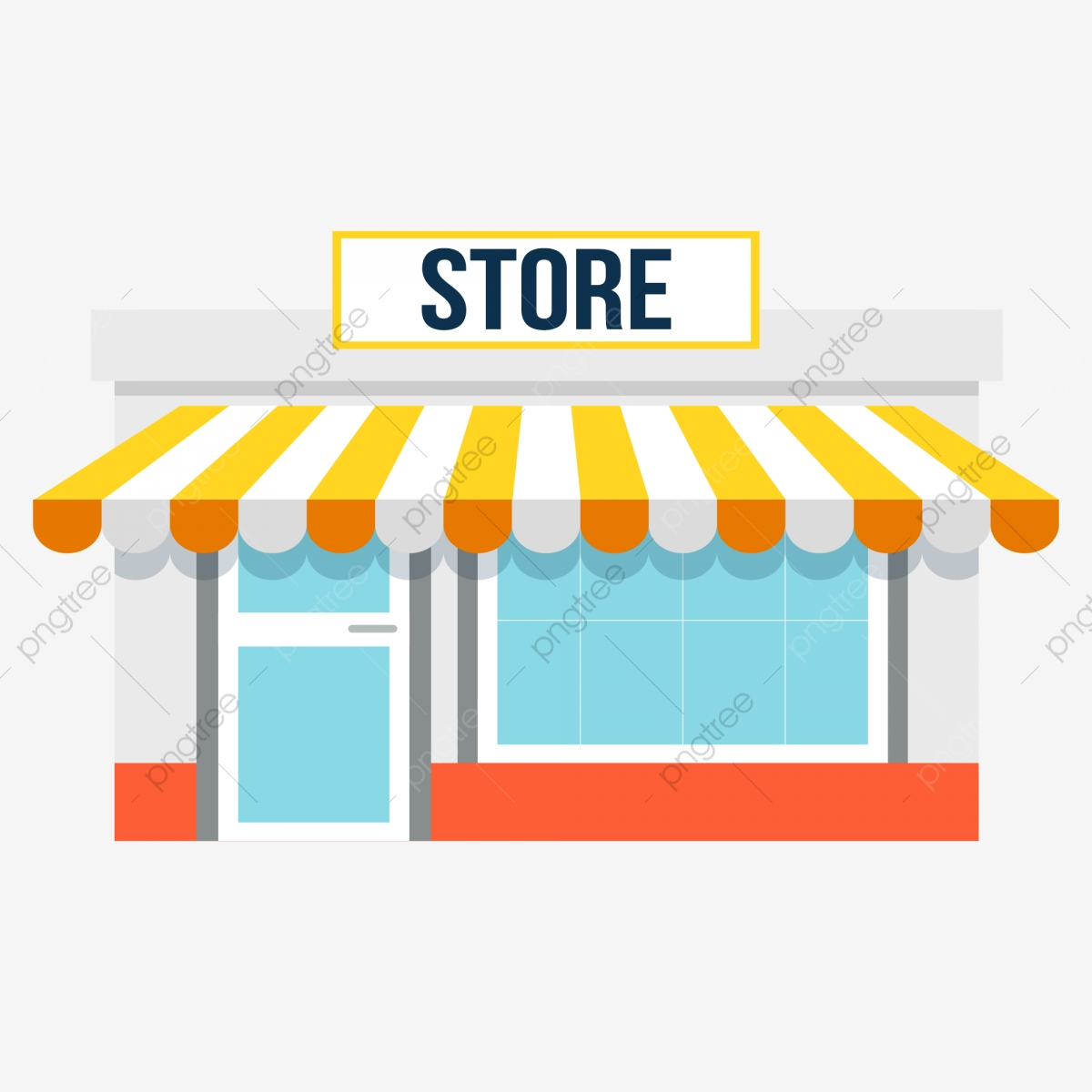 Hand Painted Cartoon Store With Awning In Front Hand