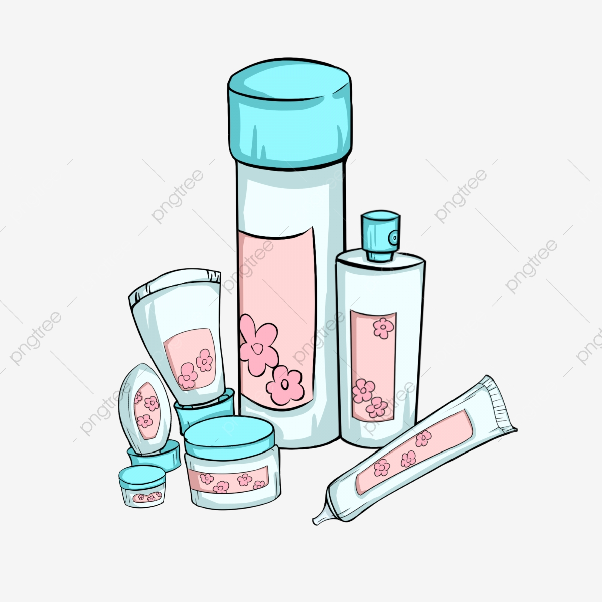Hand Painted Cosmetics Female Beauty Skin Care Products Cream Skin Cream Cosmetic Bottle Cartoon Cosmetics Png Transparent Clipart Image And Psd File For Free Download