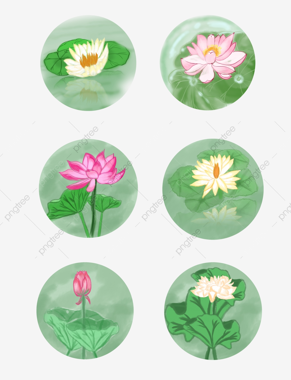Hand Painted Lotus Leaf Group Map Fresh Japanese Wind Hand