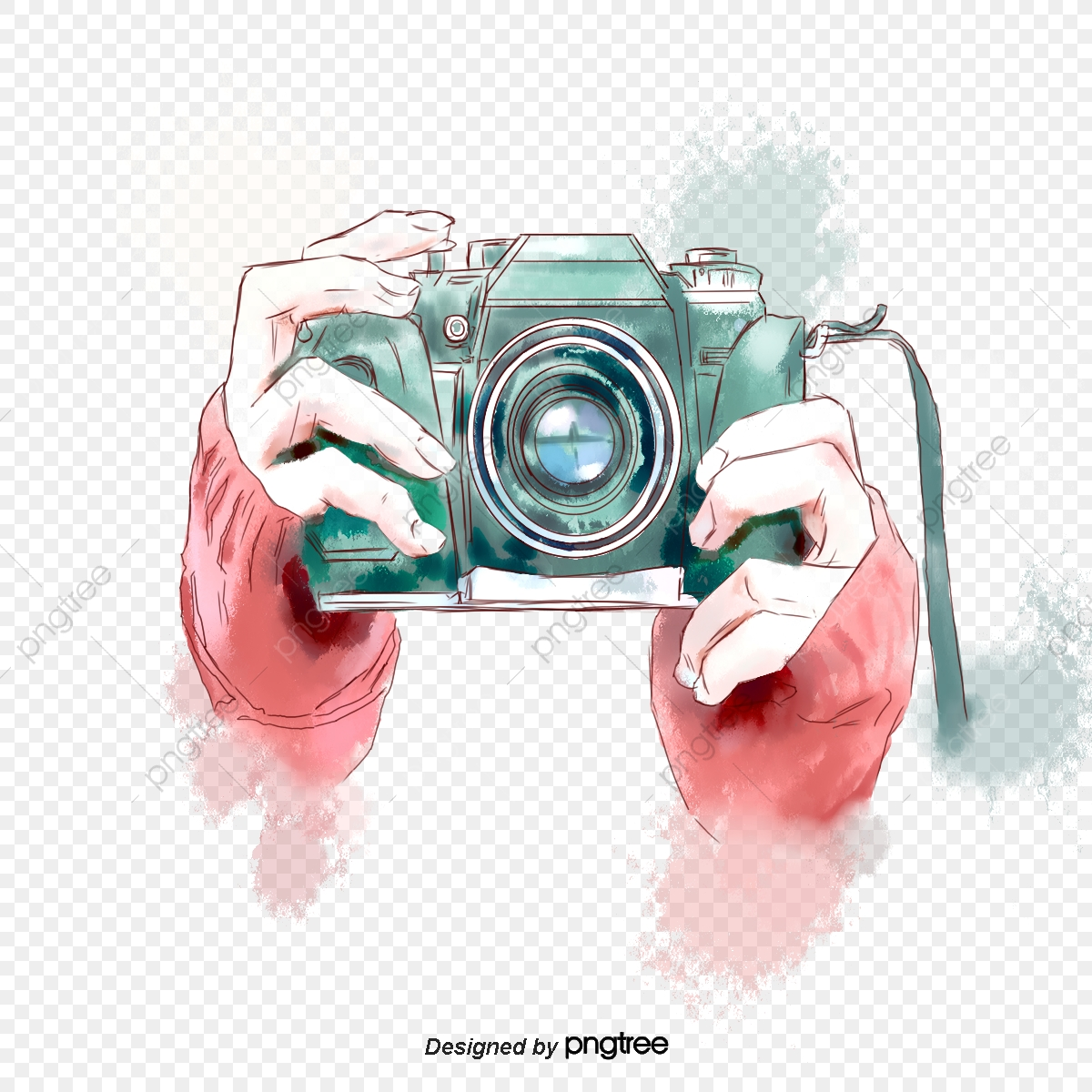 Hand Painted Watercolor Green Camera Hand Elements Slr Camera Photograph Photography Png Transparent Clipart Image And Psd File For Free Download