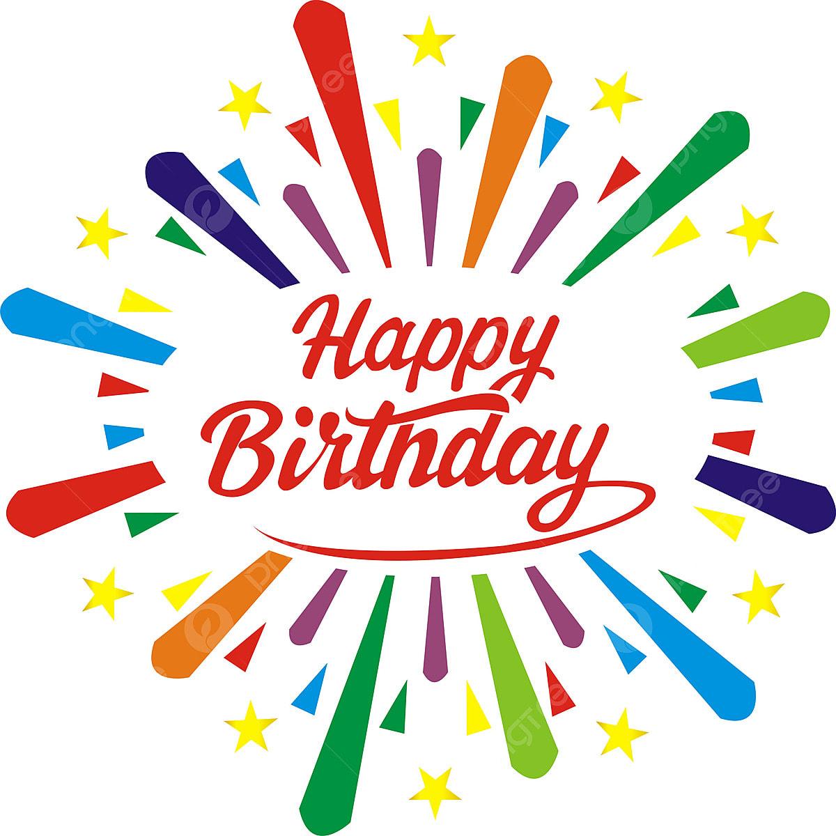 Selamat Ulang Tahun Kartu Ucapan Dengan Sunburst Dan Bintang