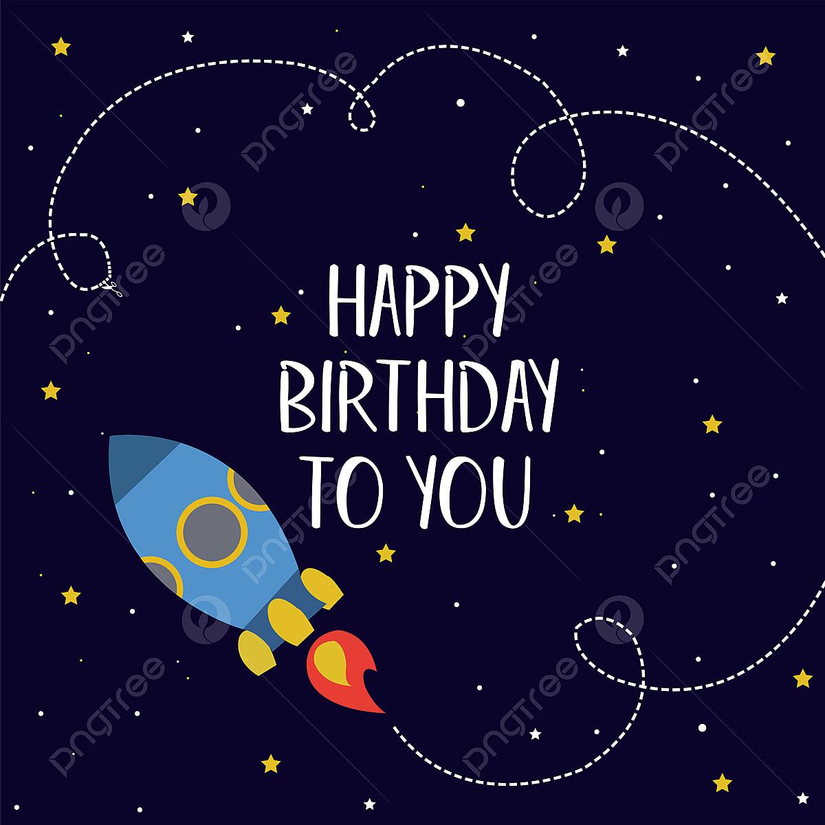 Happy Birthday Card Space Theme, Birthday, Birthday