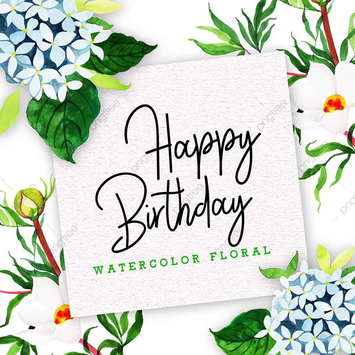 Happy Birthday Card With Floral In Watercolor Style Watercolor Floral Birthday Decoration Beautiful Floral Birthday Decoration Happy Birthday Clip Art Png And Vector With Transparent Background For Free Download