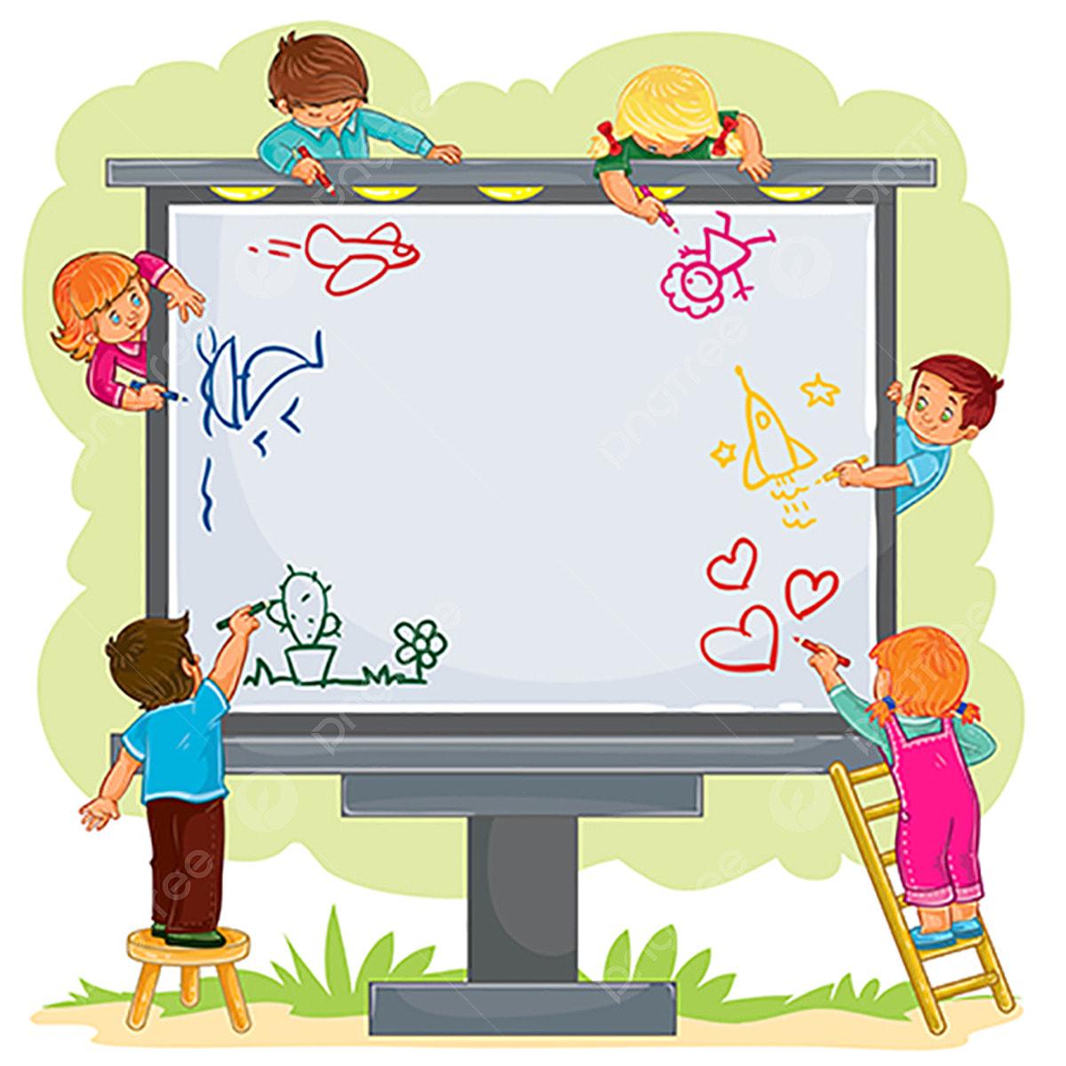 أطفال سعداء معا رسم على لوحة كبيرة قصاصات فنية من الأطفال طفل قليل Png والمتجهات للتحميل مجانا