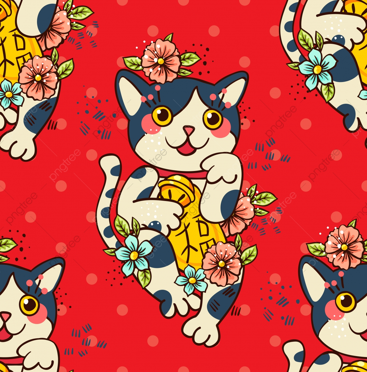 Joyeux Chat Maneki Neko Fleuri Maneki Neko Buffycat Chat