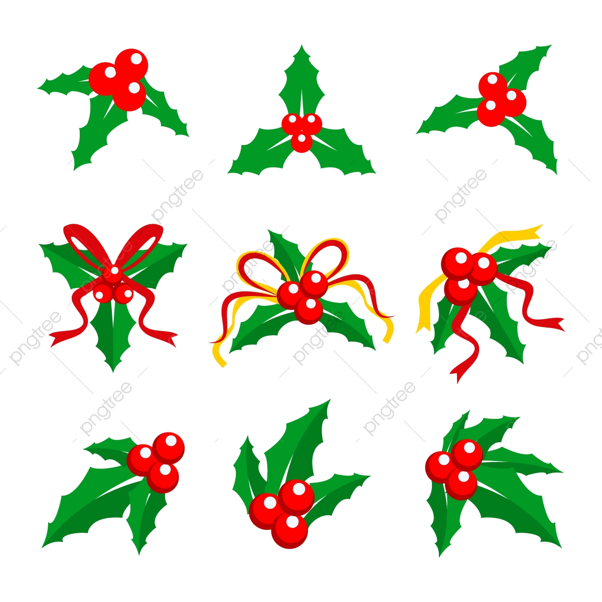 Christmas Holly Png.Holly Berry Red Ribbon Vector Illustration Png Christmas