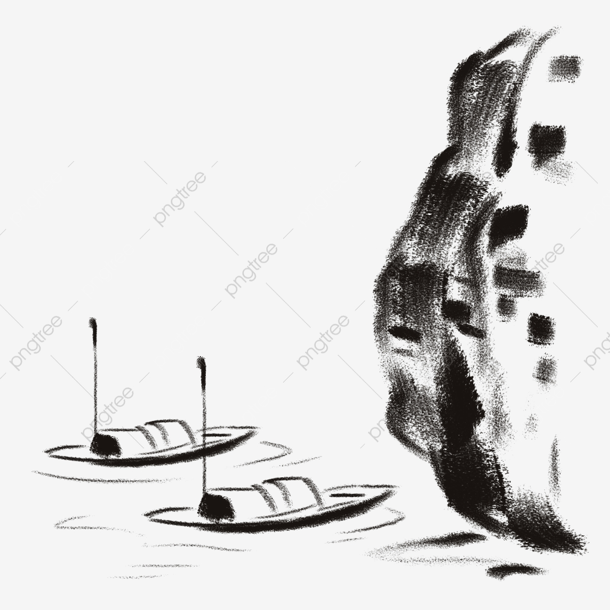 Ink Fishing Boat Moored Boat Antiquity Chinese Wind Fishing Boat Water Surface Lake Water Fisherman Png Transparent Clipart Image And Psd File For Free Download