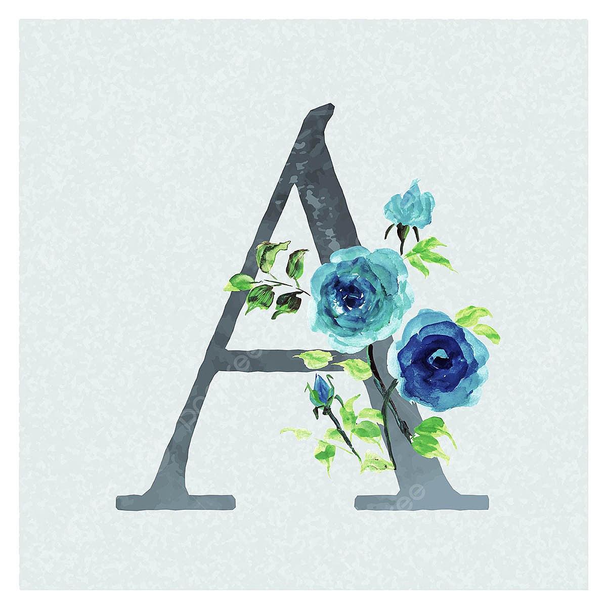 رسالة خلفية ألوان مائية الزهور موضوع في الأزرق رسالة قصاصات فنية ألوان مائية اللون Png والمتجهات للتحميل مجانا