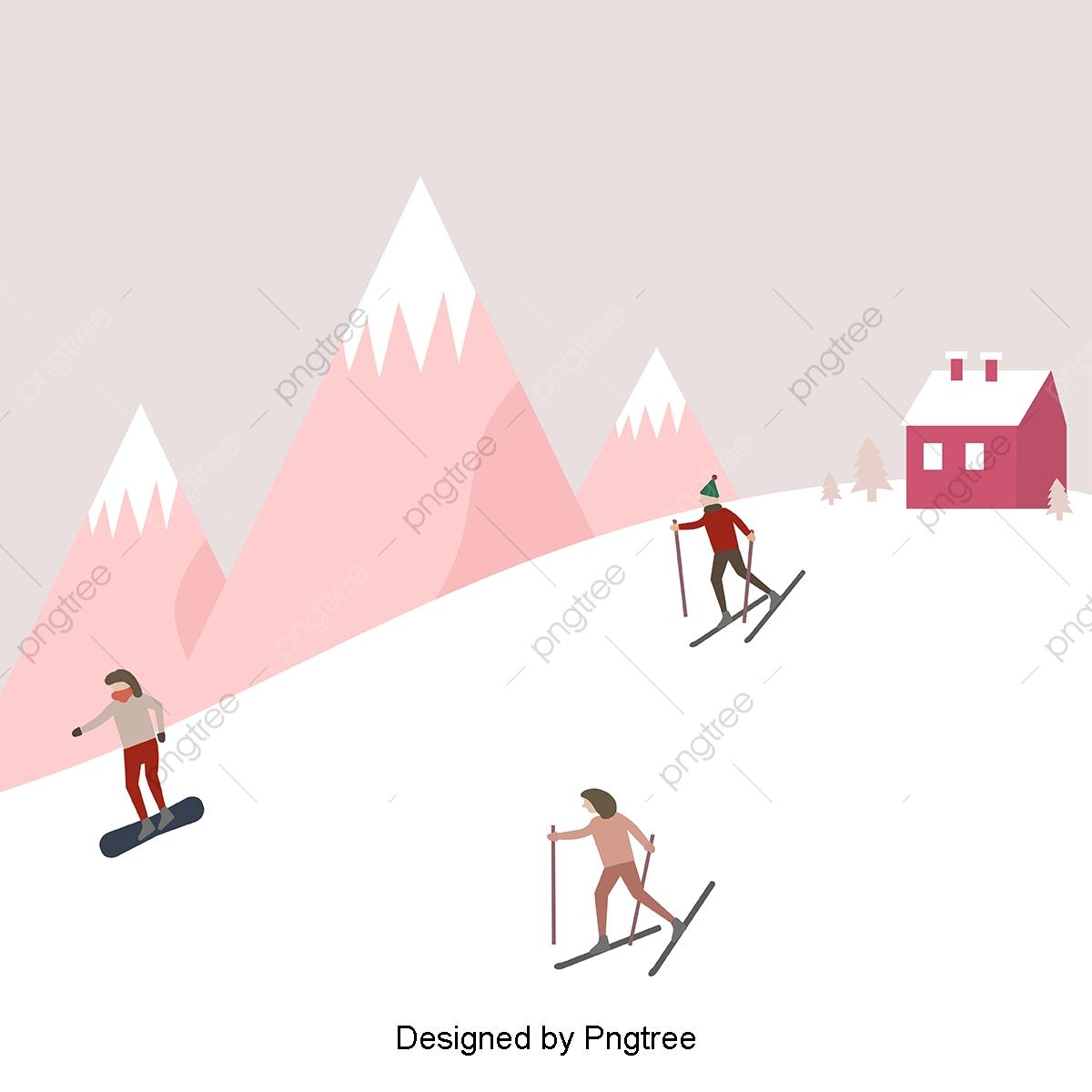 観光人物のスキーイラスト 簡素な約束 スノーボード 数字画像素材の無料