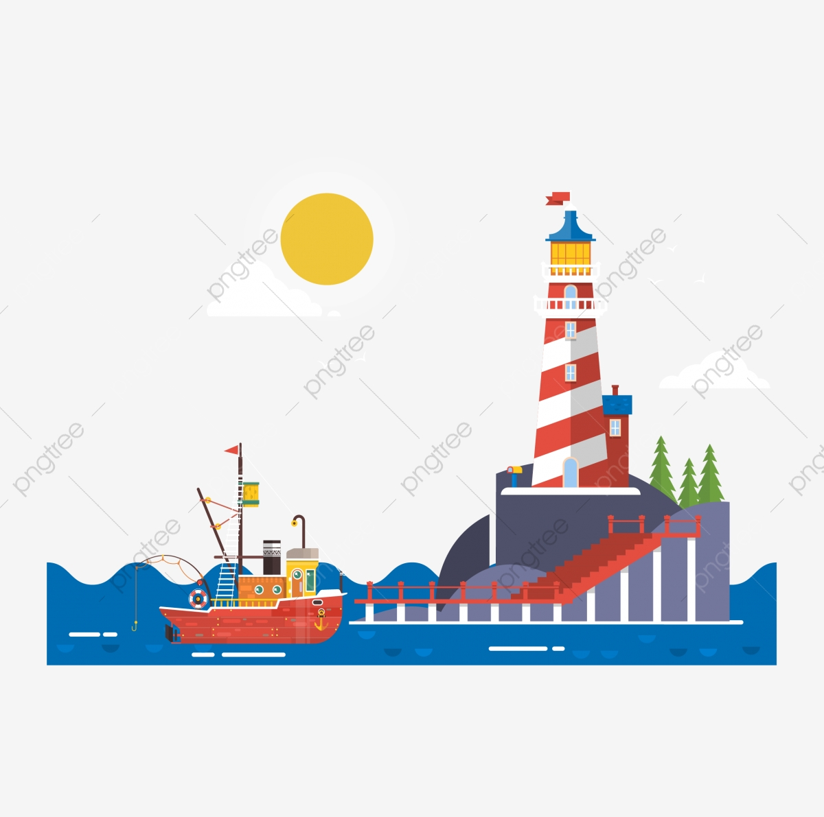Lighthouse Cruise Ship Cruise Ship Lighthouse Cartoon