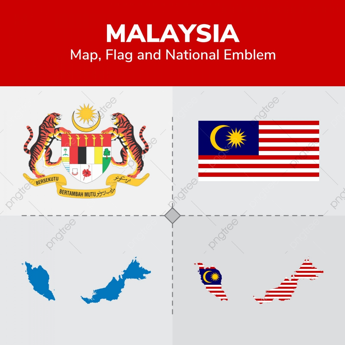Malaysia Map, Flag And National Emblem, Continents, Countries, Map