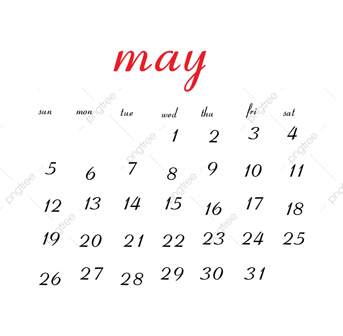 May 2019 Calendar Calendar Clean White Png And Vector