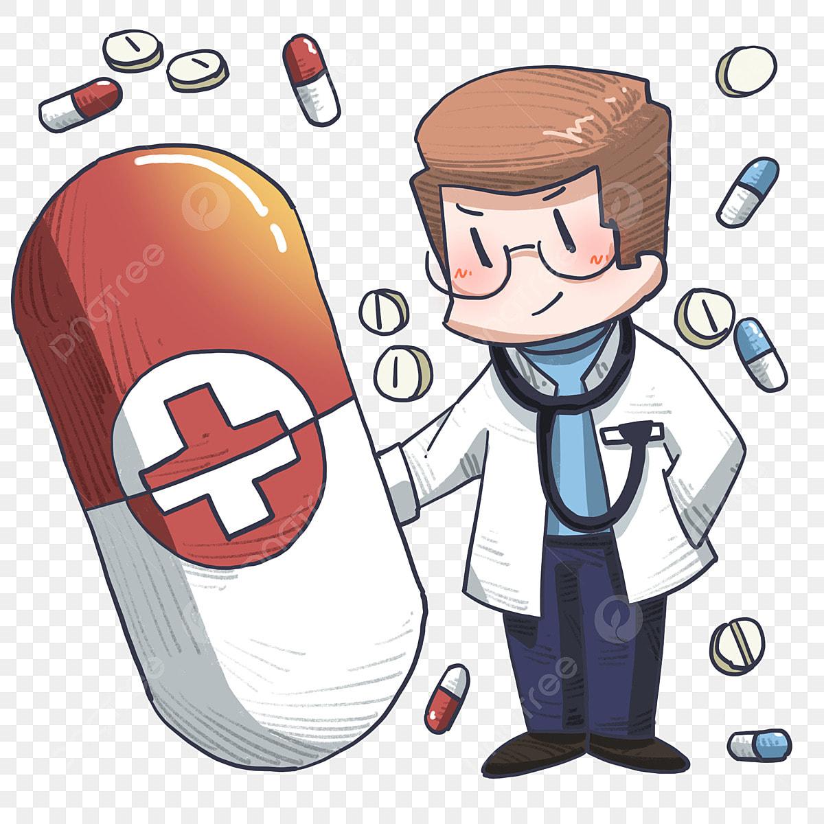 Gambar Ilustrasi Tangan Yang Diambil Ilustrasi Pil Merah Doktor Kartun Memutarkan Pil Stetoskop Pakaian Putih Doktor Png Dan Psd Untuk Muat Turun Percuma