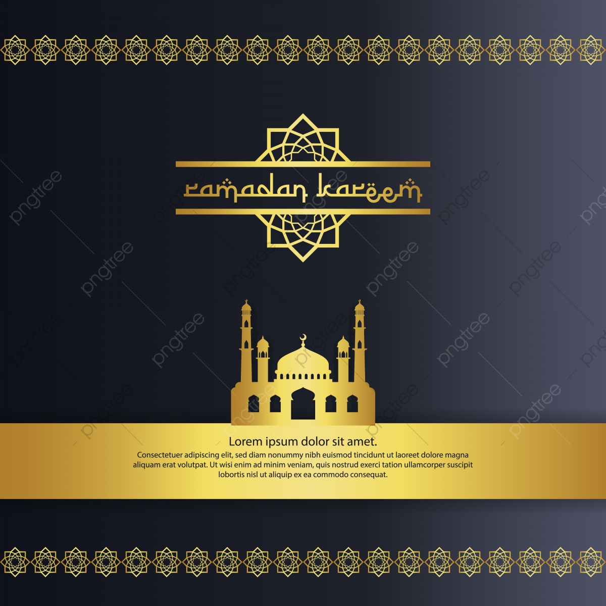 Mosque With Gold Color Element Design For Ramadan Kareem