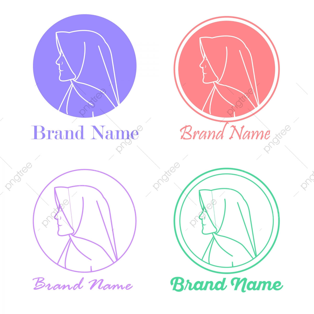 Muslim Hijab Logo Template For Business, Character, Hijab Girl