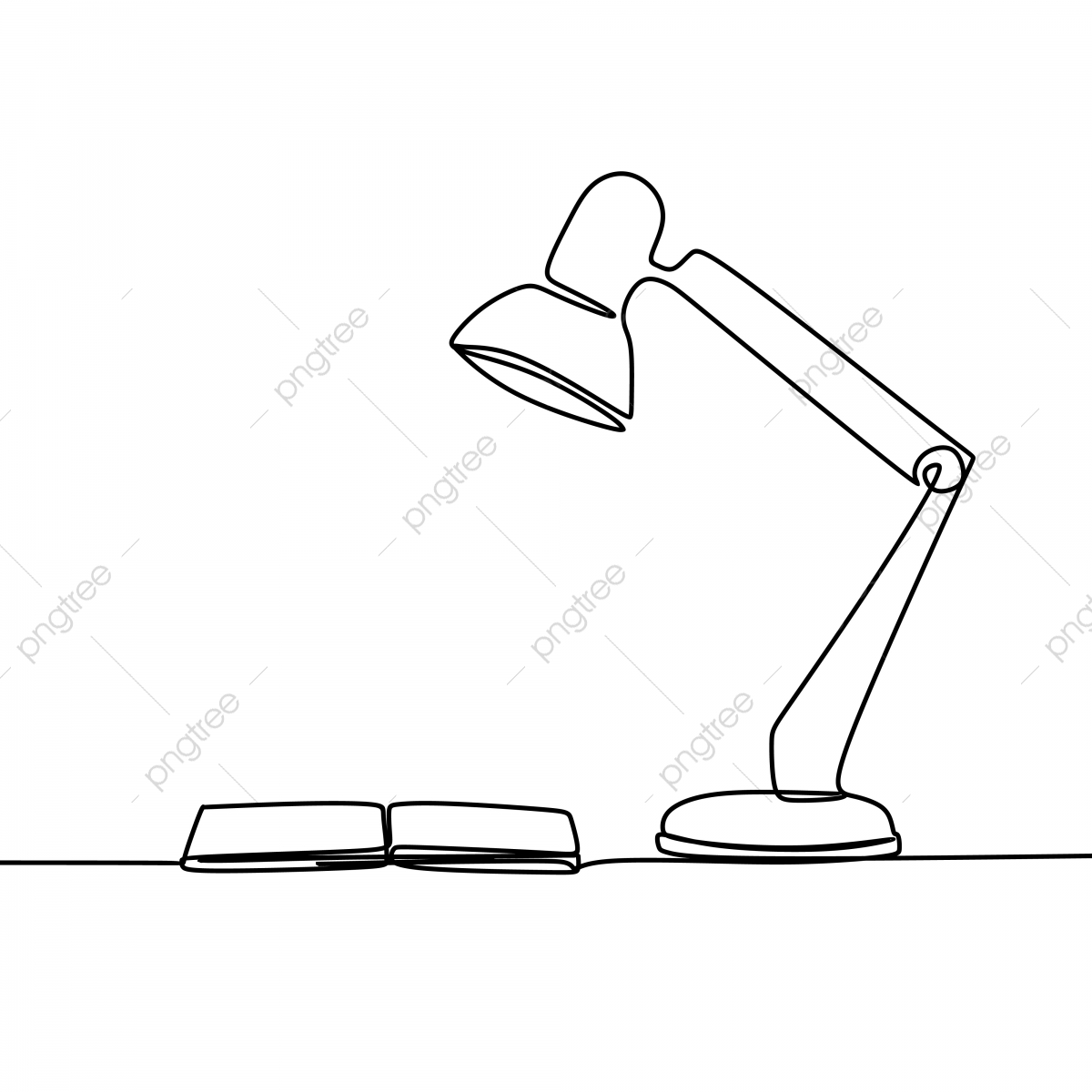 one line art drawing of a study lamp and a book on the table isolated on white background