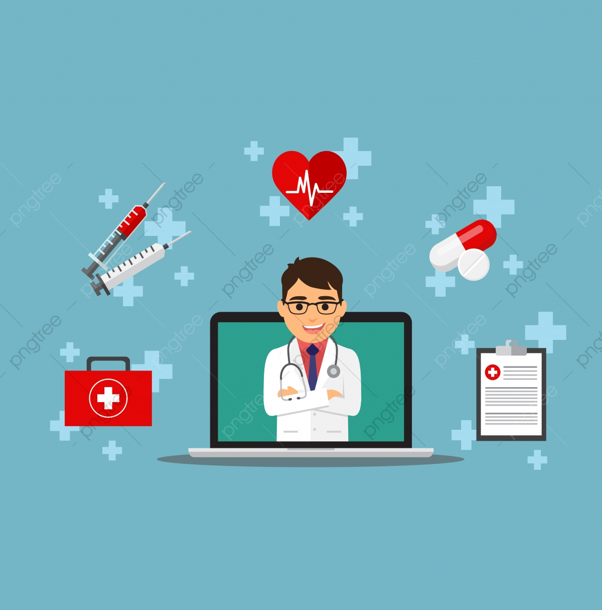 Online Medical Consulting With Male Doctor, Illness, Banner, Kit PNG and  Vector with Transparent Background for Free Download