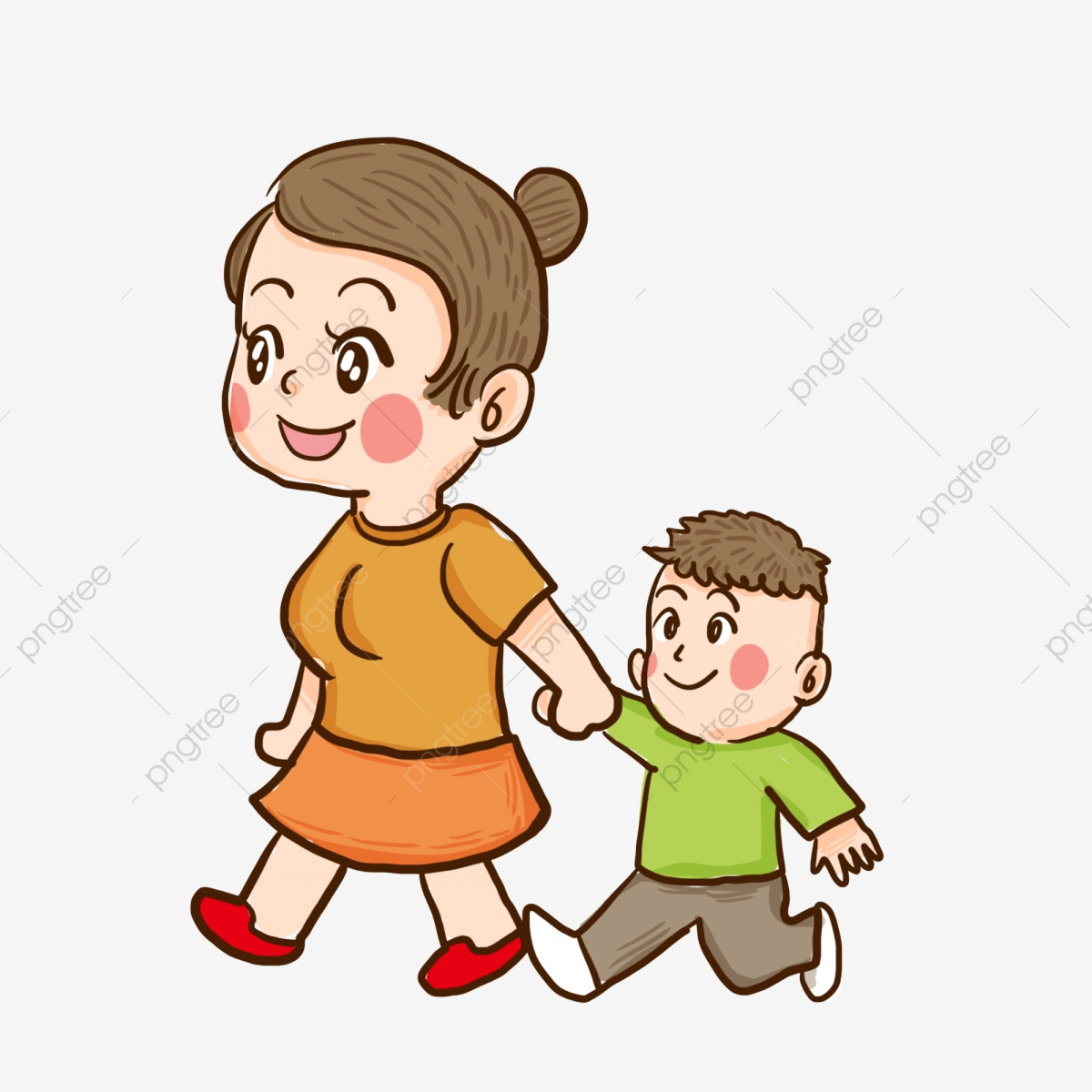 Painted Mom And Child Cartoon Character Design Painted Cartoon Characters Mom Png Transparent Clipart Image And Psd File For Free Download