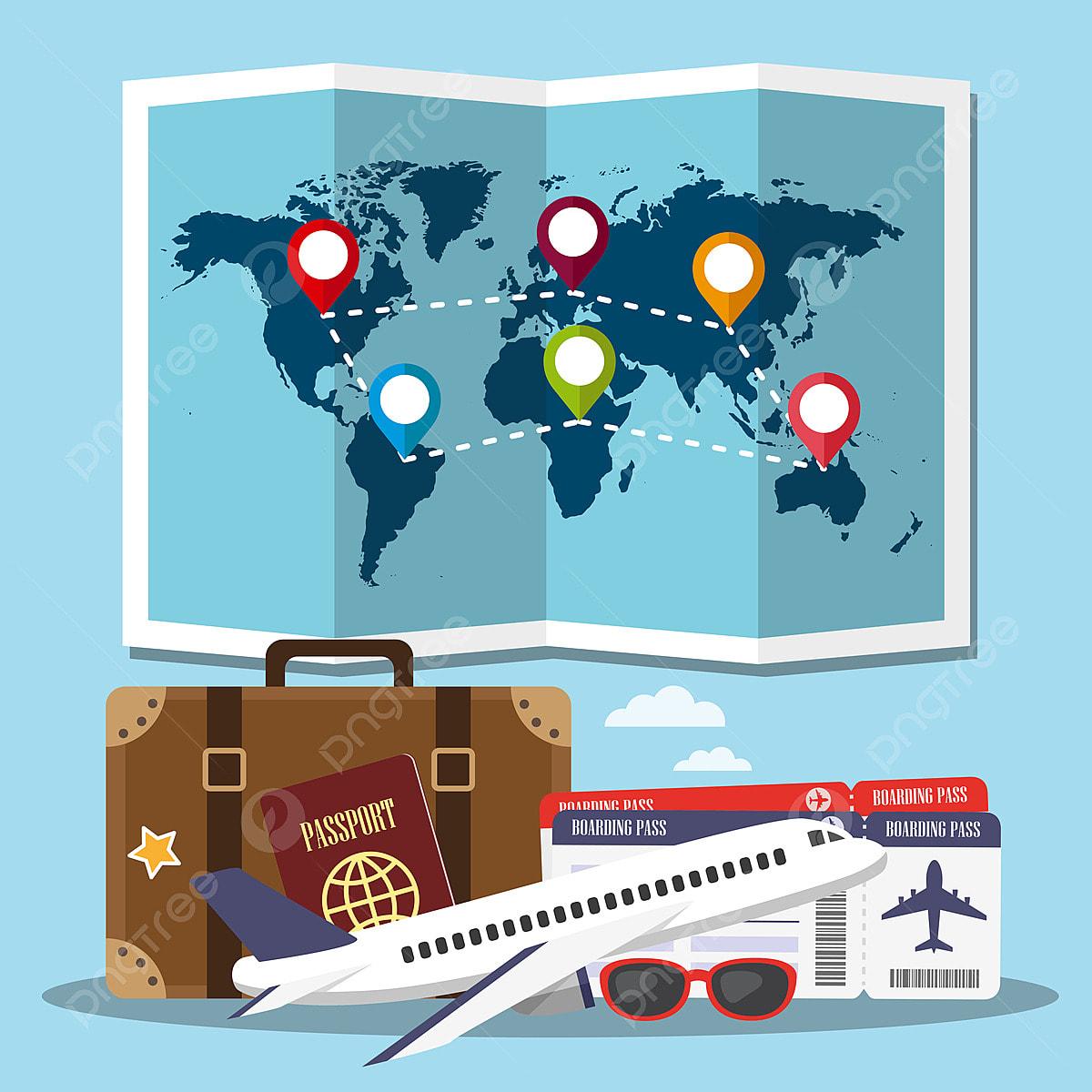 1b39306d5f Boletos de avión pasaporte maleta Gafas de sol y el mapa del mundo en el  fondo azul Gratis PNG y Vector