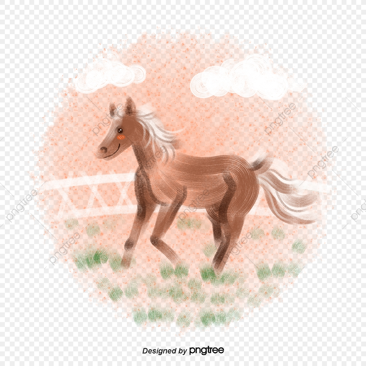 Pencil Hand Drawn Grassland Running Horse Lovely Running Color Pencil Png Transparent Clipart Image And Psd File For Free Download