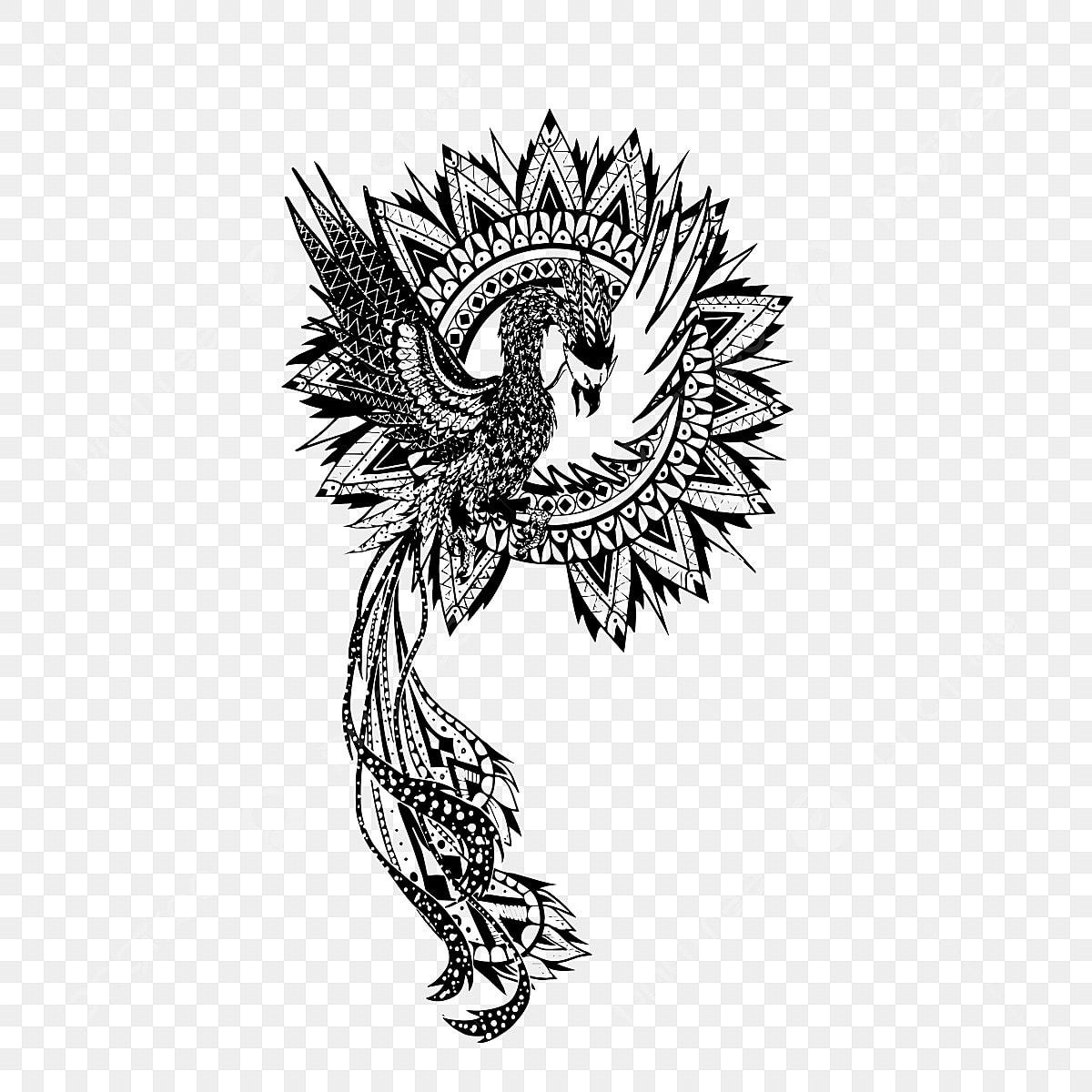 Phoenix Tatouage Conception Black Conception Voler Png Et
