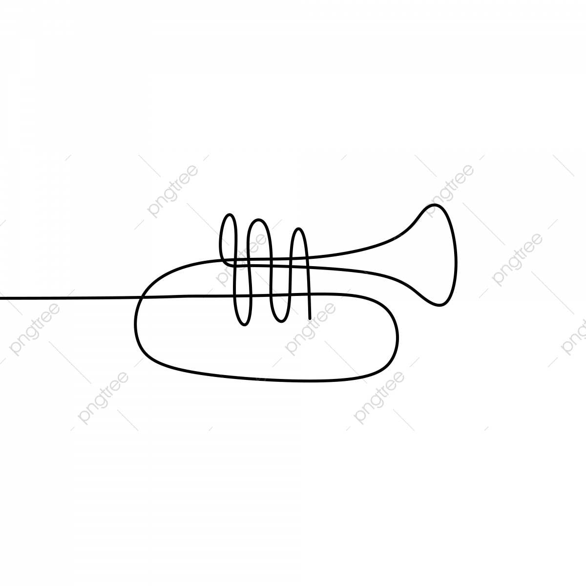 Picture Of A Continuous Line Of Trumpet Musical Instruments