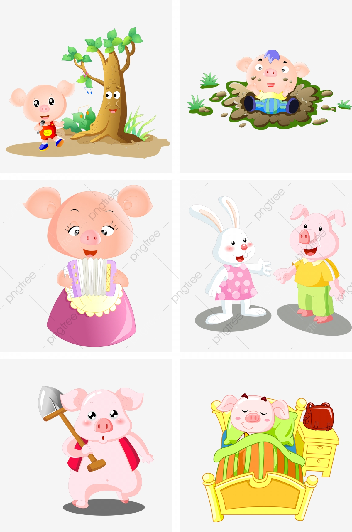 Pig Illustration Collection Singing Under The Pig Tree Pig Playing Mud Pig And Accordion Pig And Rabbit Chat Pig Life Scene Pig Labor Png Transparent Clipart Image And Psd File For Free
