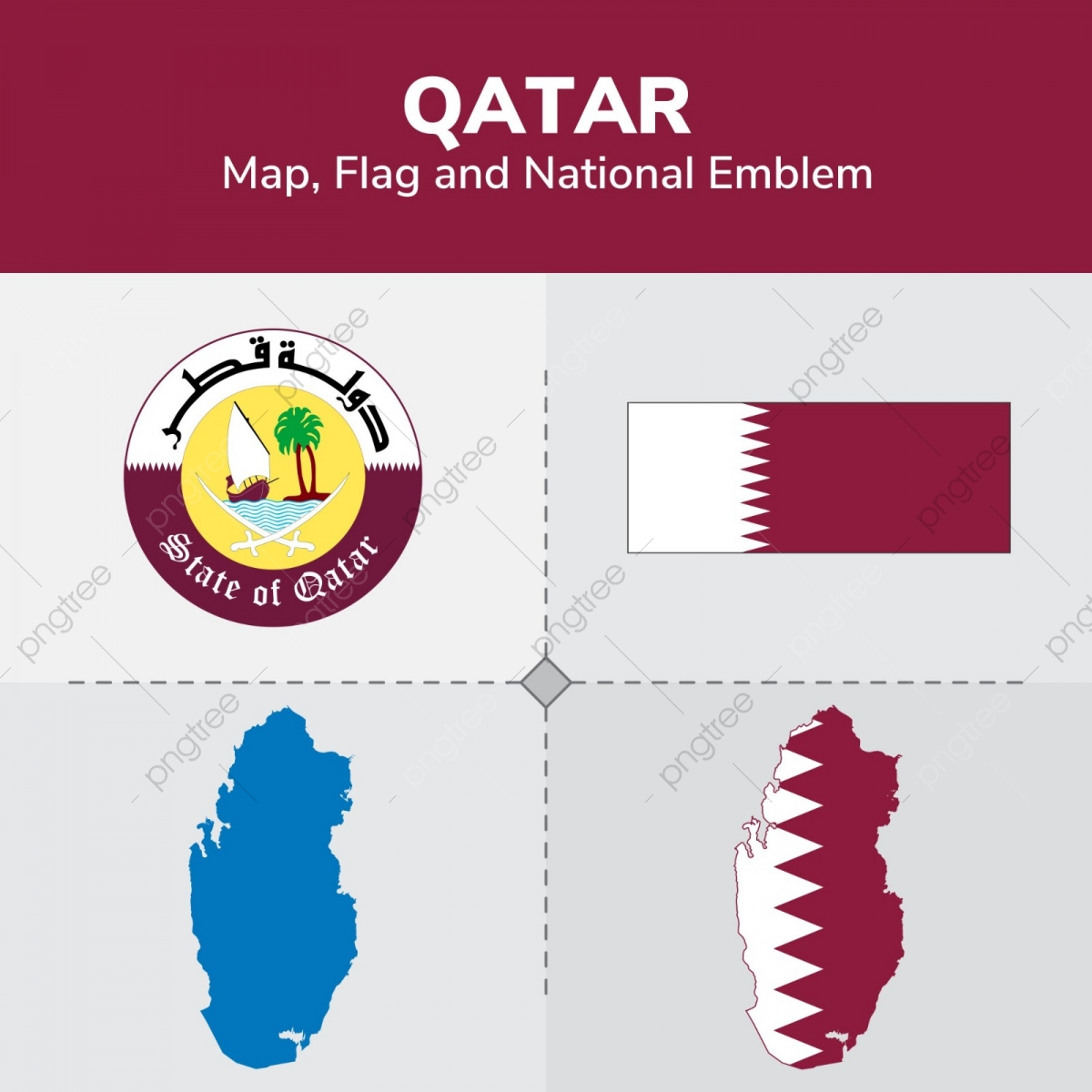 Qatar Map Flag And National Emblem, Continents, Countries