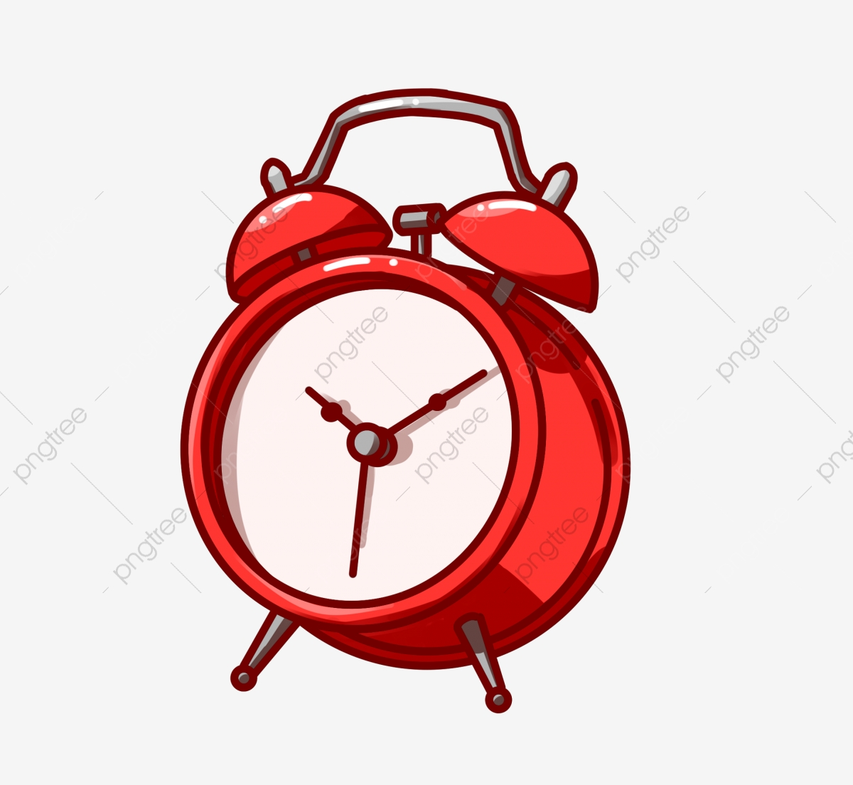 Red Alarm Clock Beautiful Alarm Clock Hand Drawn Alarm Clock