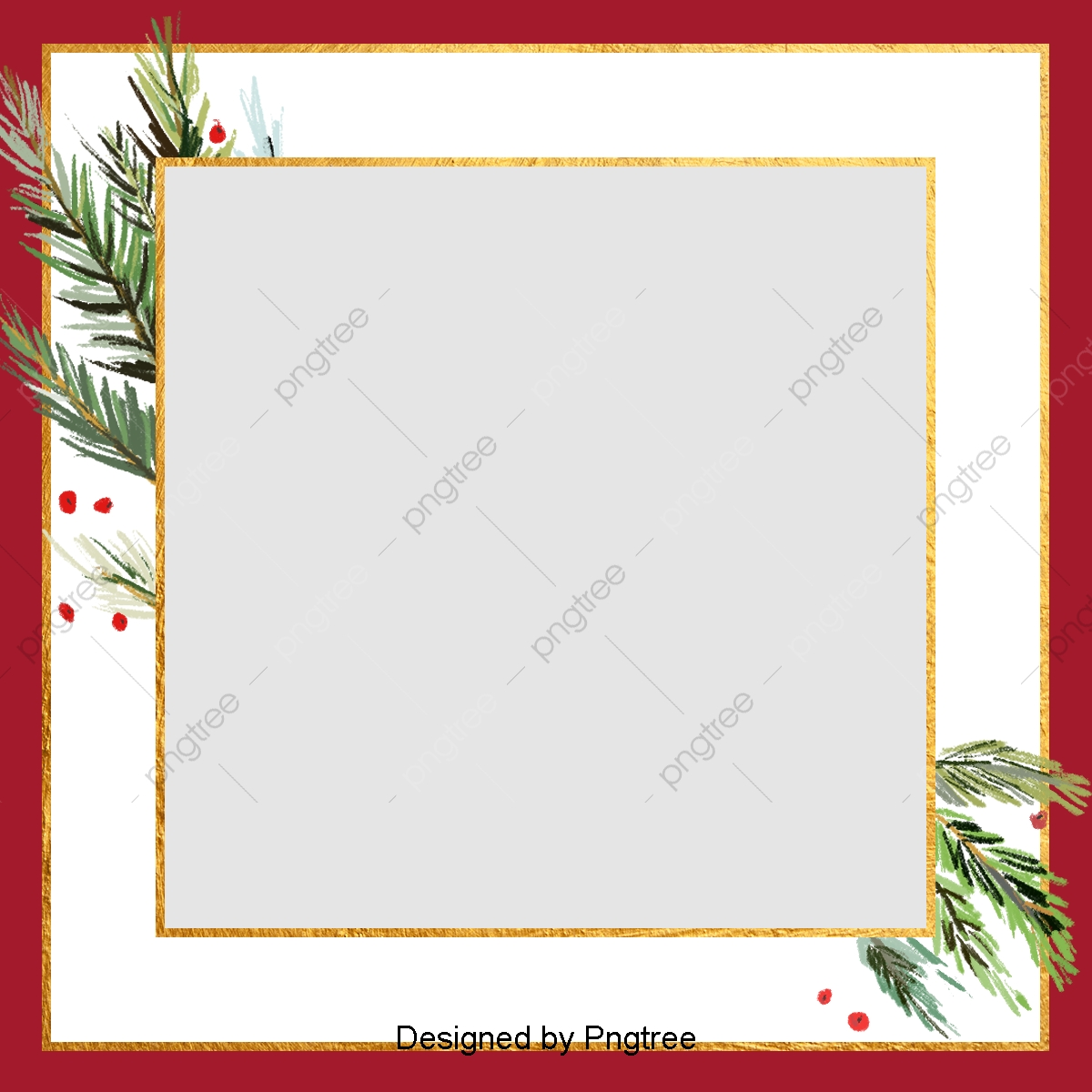 Christmas Card Frame.Red Retro Simple Christmas Card Frame Background Border