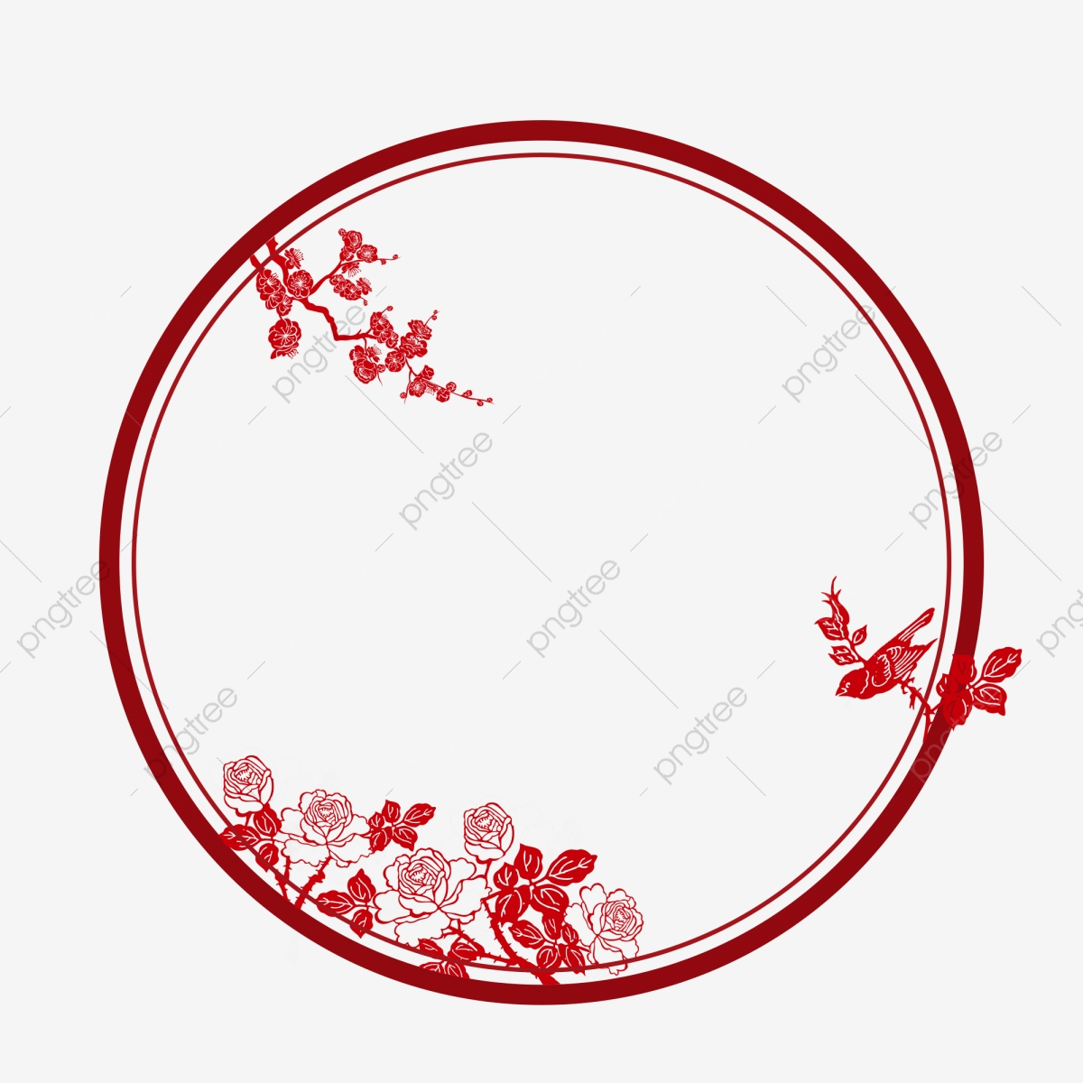 red round paper cut peony chinese style border  chinese