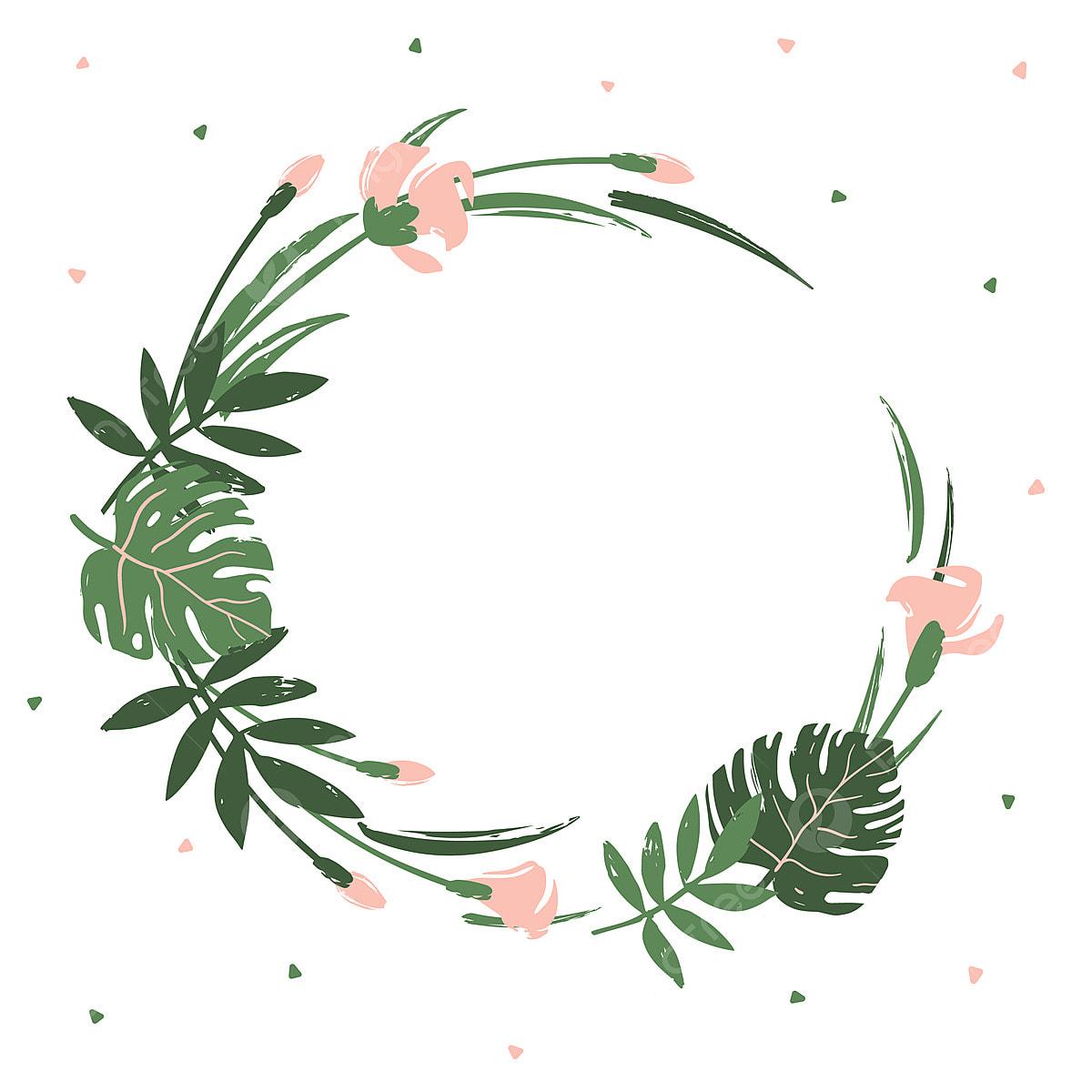 Quadro Redondo De Folhas E Flores Tropicais Arte Fundo