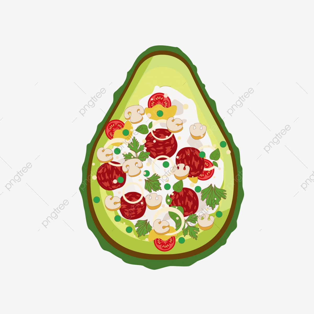 Salade Avocat Dessin Animé Dessin Animé Nourriture