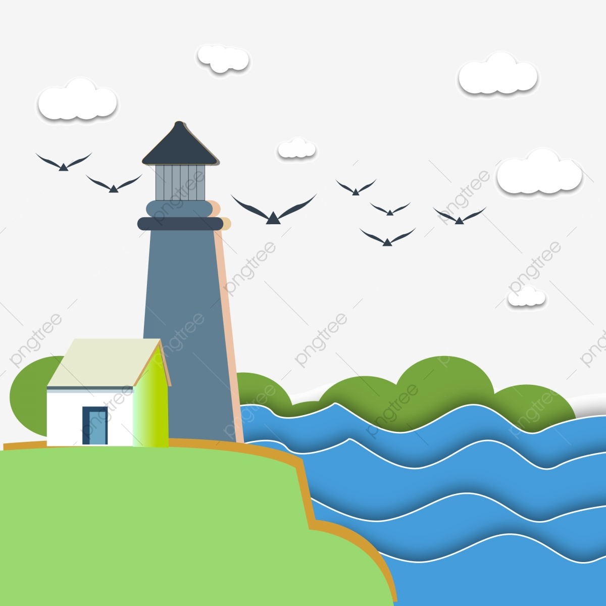 Seaside Lighthouse Cartoon Hand Drawn Illustration Png