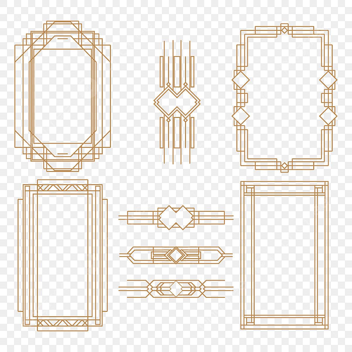 art deco frame png set of art deco frame, element, decoration, frame png and