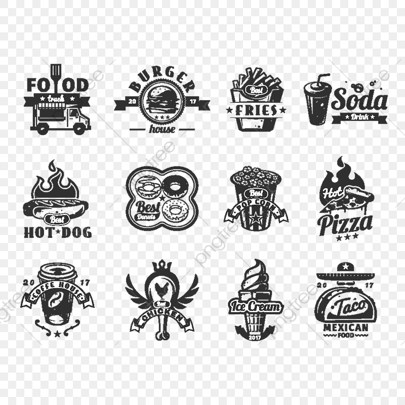 Set Of Vector Black Fast Food Icons Badges Isolated Fast