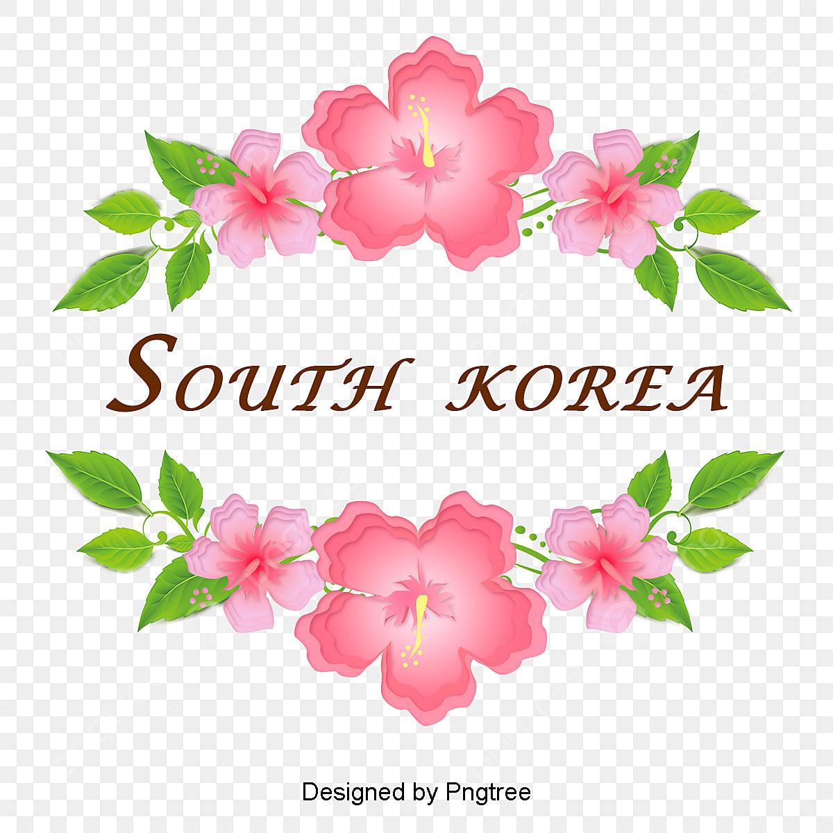 Simple Cartoon Hand Painted Korean Hibiscus Flower Elements Fashion